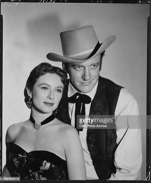 GUNSMOKE cast members Amanda Blake and James Arness April 22 1955