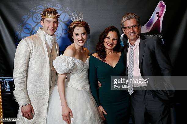 Cast members Andy Huntington Jones Paige Faure Fran Drescher and actor Charles Shaughnessy pose during a post show photo op for the opening night...