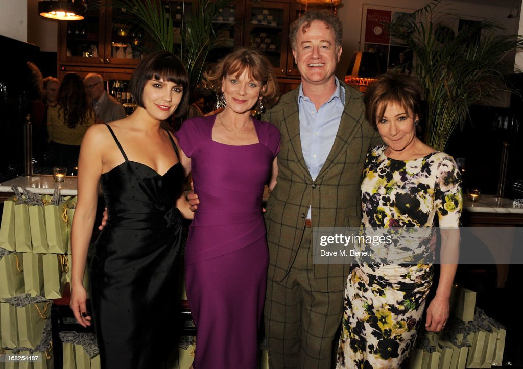 Cast members Annabel Scholey Samantha Bond Owen Teale and Zoe Wanamaker attend an after party following the press night performance of 'Passion Play'...