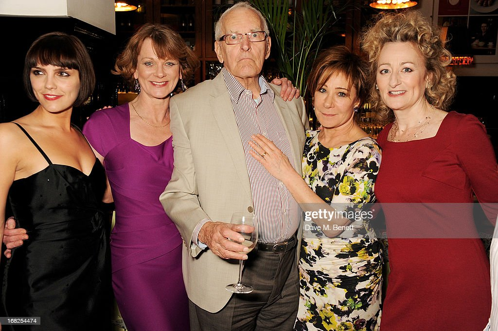 Cast members Annabel Scholey, <a gi-track='captionPersonalityLinkClicked' href=/galleries/search?phrase=Samantha+Bond&family=editorial&specificpeople=209017 ng-click='$event.stopPropagation()'>Samantha Bond</a>, playwright Peter Nichols, <a gi-track='captionPersonalityLinkClicked' href=/galleries/search?phrase=Zoe+Wanamaker&family=editorial&specificpeople=224028 ng-click='$event.stopPropagation()'>Zoe Wanamaker</a> and Sian Thomas attend an after party following the press night performance of 'Passion Play' at The National Gallery on May 7, 2013 in London, England.
