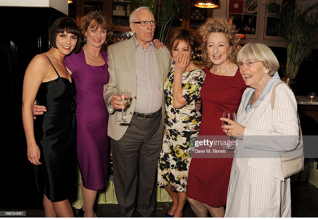 Cast members Annabel Scholey, <a gi-track='captionPersonalityLinkClicked' href=/galleries/search?phrase=Samantha+Bond&family=editorial&specificpeople=209017 ng-click='$event.stopPropagation()'>Samantha Bond</a>, playwright Peter Nichols, <a gi-track='captionPersonalityLinkClicked' href=/galleries/search?phrase=Zoe+Wanamaker&family=editorial&specificpeople=224028 ng-click='$event.stopPropagation()'>Zoe Wanamaker</a>, Sian Thomas and Thelma Nichols attend an after party following the press night performance of 'Passion Play' at The National Gallery on May 7, 2013 in London, England.