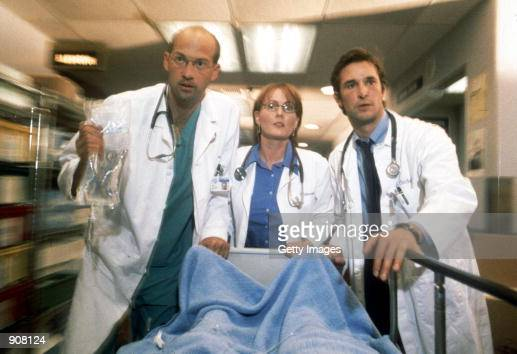 Cast members Anthony Edwards Laura Innes and Noah Wyle act in scene in NBC's primetime drama series 'ER' year VII