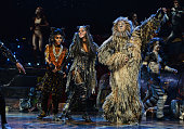 Cast members Antoine MurrayStraughan Nicole Scherzinger and Nicholas Pound bow at the curtain call during the press night performance of 'Cats' as...