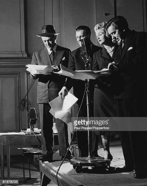 Cast members at a recording for the first series of the BBC radio comedy show 'Hancock's Half Hour' London 1954 Left to right Sid James Bill Kerr...