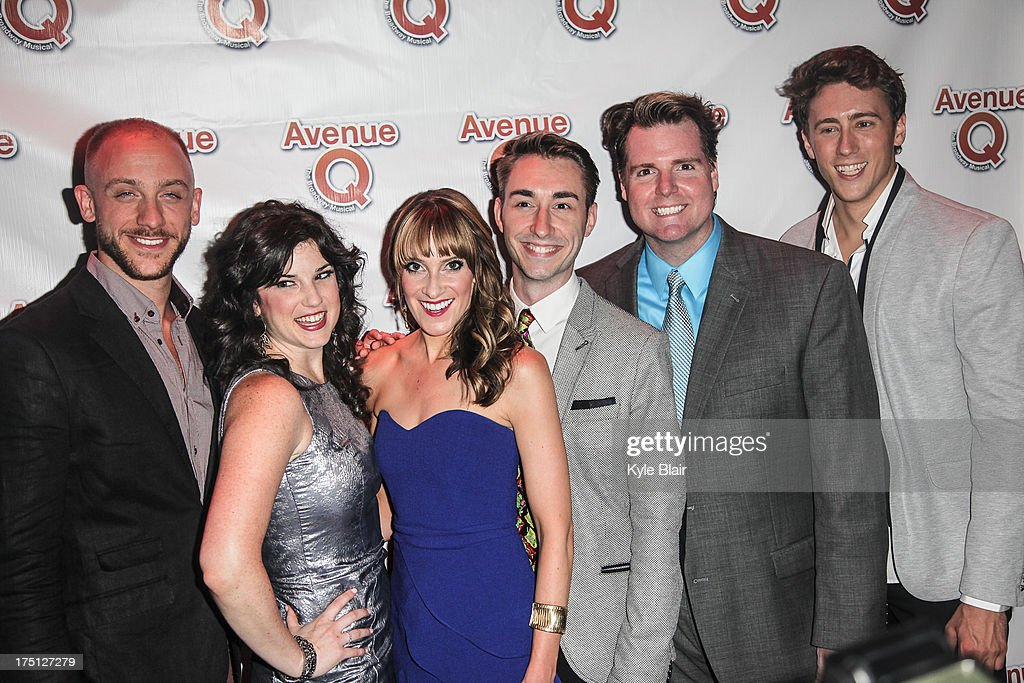 Cast members attend the 'Avenue Q' 10th year anniversary performance at New World Stages on July 31, 2013 in New York City.