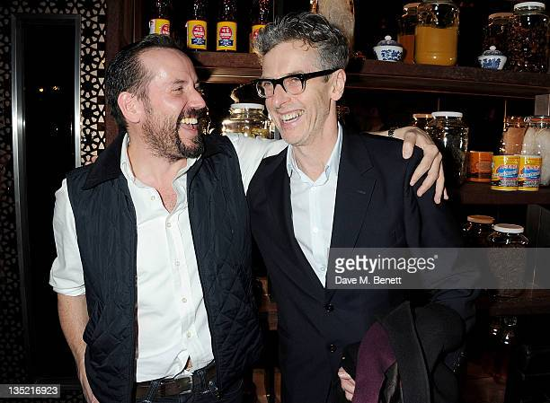 Cast members Ben Miller and Peter Capaldi attend an after party following the Press Night performance of The Ladykillers at Spice Market on December...