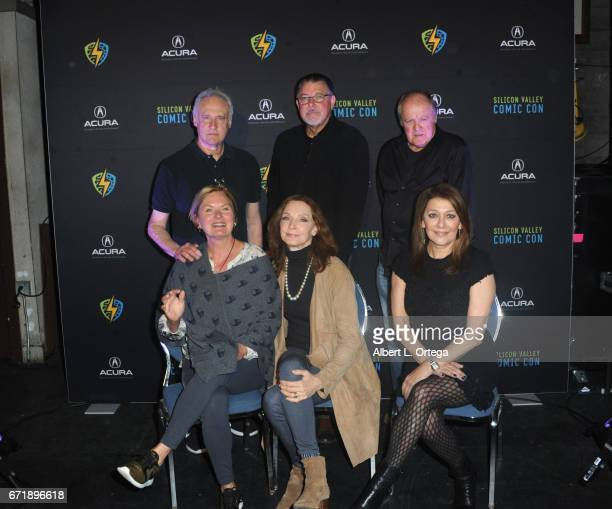 Cast members Brent Spiner Jonathan Frakes Robert O'Reilly Denise Crosby Gates McFadden and Marina Sirtis from the 'Star Trek The Next Generation'...