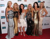 Cast members Camille Grammer Adrienne Maloof Kyle Richards Kim Richards Lisa Vanderpump and Taylor Armstrong arrive at Bravo's 'The Real Housewives...