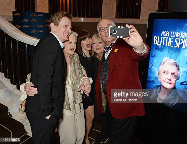 Cast members Charles Edwards Dame Angela Lansbury Jemima Rooper Serena Evans and Simon Jones take a 'selfie' at an after party celebrating the press...