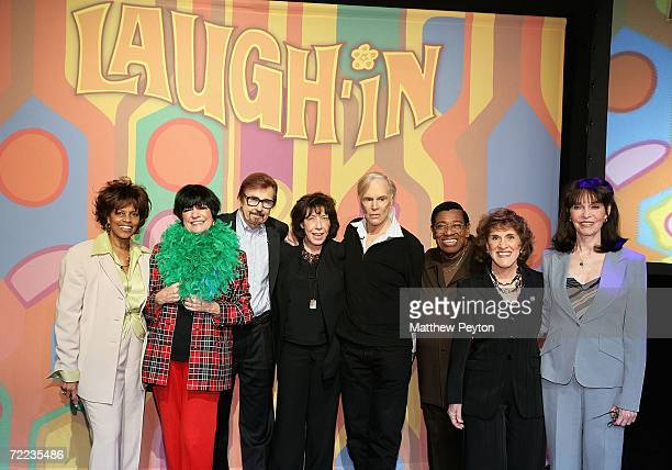 Cast members Chelsea Brown Jo Anne Worley Gary Owens Lily Tomlin Alan Sues Johnny Brown Ruth Buzzi and Barbara Feldon attend the 'Laugh In' cast...