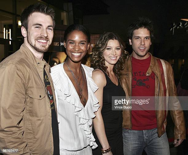 Cast members Chris Evans Joy Bryant Jessica Biel and Dane Cook attend the premiere of the Samuel Goldwyn Films' 'London' on February 6 2006 at the...