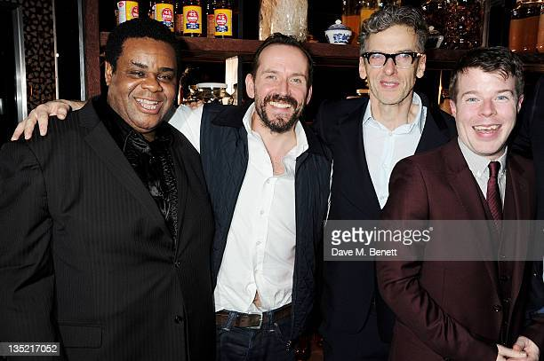 Cast members Clive Rowe Ben Miller Peter Capaldi and Stephen Wight attend an after party following the Press Night performance of The Ladykillers at...