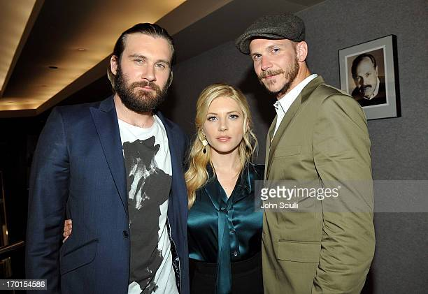 Cast members Clive Standen Katheryn Winnick and Gustaf Skarsgard attend the 'Vikings' For Your Consideration event at the Leonard Goldenson Theatre...
