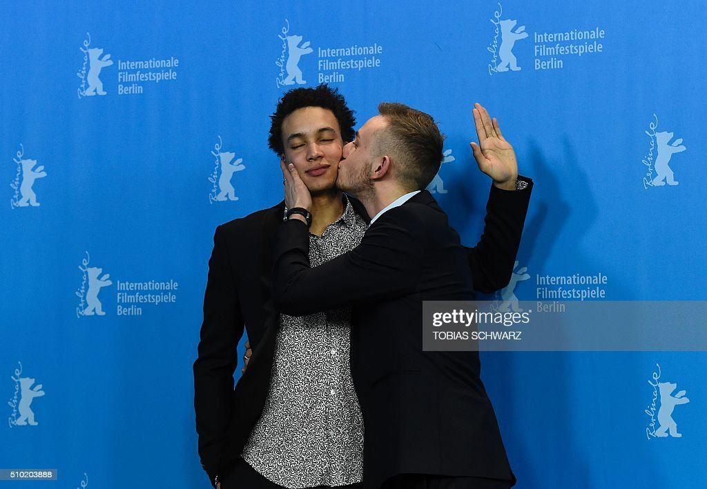 Cast members Corentin Fila (L) and Kacey Mottet Klein pose during a photo call for the film 'Quand on a 17 Ans' (Being 17) by Andre Techine in competition at the 66th Berlinale Film Festival in Berlin on February 14, 2016. / AFP / TOBIAS SCHWARZ