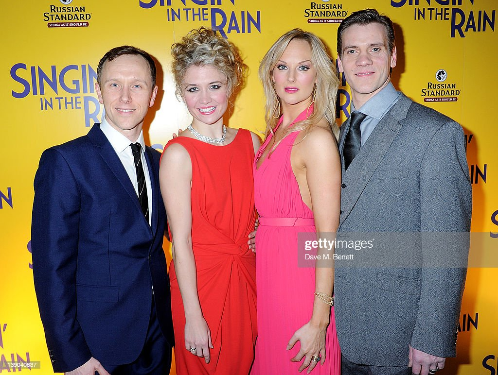 Cast members Daniel Crossley, <a gi-track='captionPersonalityLinkClicked' href=/galleries/search?phrase=Scarlett+Strallen&family=editorial&specificpeople=874282 ng-click='$event.stopPropagation()'>Scarlett Strallen</a>, Katherine Kingsley and Adam Cooper attend an after party celebrating the press night performance of 'Singing In The Rain' at Freemasons Hall on February 15, 2012 in London, England.