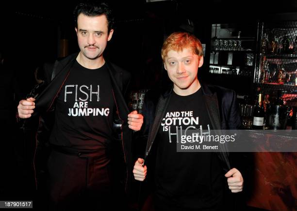 Cast members Daniel Mays and Rupert Grint attend an after party celebrating the press night performance of 'Mojo' at Cafe de Paris on November 13...