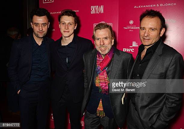 Cast members Daniel Mays George MacKay Timothy Spall and director Matthew Warchus attend the press night after party of 'The Caretaker' at Skylon on...
