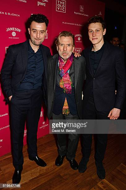 Cast members Daniel Mays Timothy Spall and George MacKay attend the press night after party of 'The Caretaker' at Skylon on April 6 2016 in London...