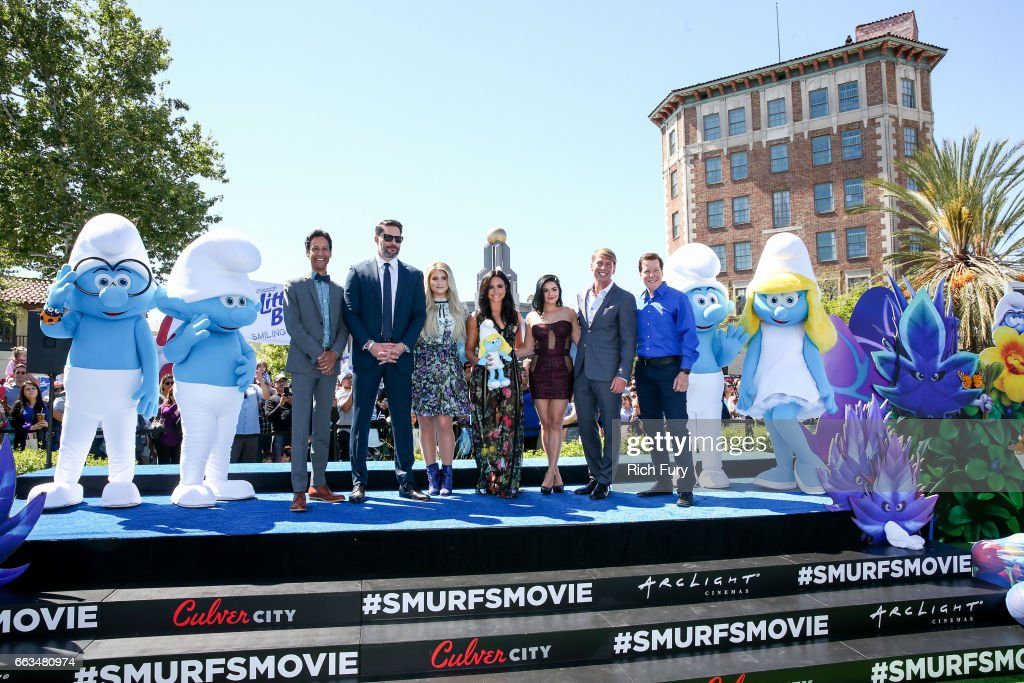 Cast members Danny Pudi, Joe Manganiello, Meghan Trainor, Demi Lovato, Ariel Winter, Jack McBrayer and Jeff Dunham arrive at the premiere of Sony Pictures' 'Smurfs: The Lost Village' at ArcLight Cinemas on April 1, 2017 in Culver City, California.