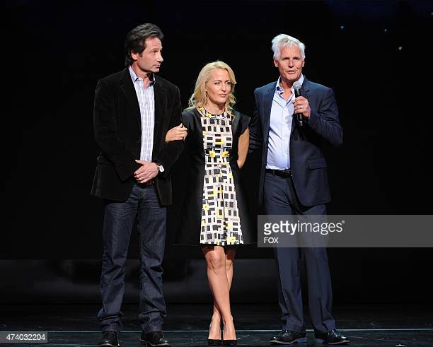 THE XFILES Cast Members David Duchovny and Gillian Anderson and Creator/Executive Producer Chris Carter during the FOX 2015 PROGRAMMING PRESENTATION...