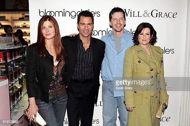 Cast members Debra Messing Eric McCormack Sean Hayes and Megan Mullally arrive at the launch party for 'Will Grace Let The Music Out' on September 15...