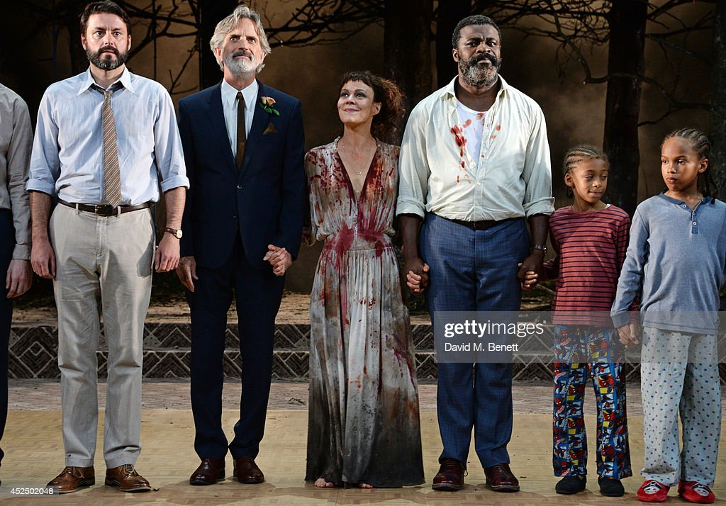 Cast members Dominic Rowan, Martin Turner, <a gi-track='captionPersonalityLinkClicked' href=/galleries/search?phrase=Helen+McCrory&family=editorial&specificpeople=214616 ng-click='$event.stopPropagation()'>Helen McCrory</a>, <a gi-track='captionPersonalityLinkClicked' href=/galleries/search?phrase=Danny+Sapani&family=editorial&specificpeople=2343946 ng-click='$event.stopPropagation()'>Danny Sapani</a>, Joel McDermott and Ricco Godfrey Brown bow at the curtain call during the press night performance of 'Medea' at The National Theatre on July 21, 2014 in London, England.