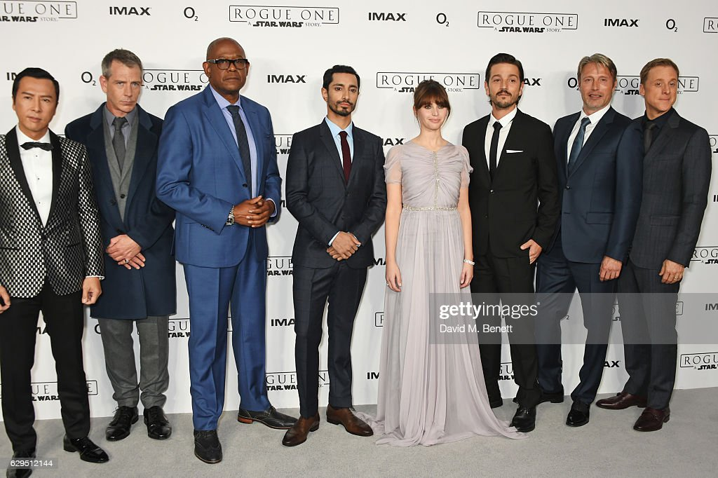 Cast members Donnie Yen, Ben Mendelsohn, Forest Whitaker, Riz Ahmed, Felicity Jones, Diego Luna, Mads Mikkelsen and Alan Tudyk attend a fan screening of 'Rogue One: A Star Wars Story' at the BFI IMAX on December 13, 2016 in London, England.