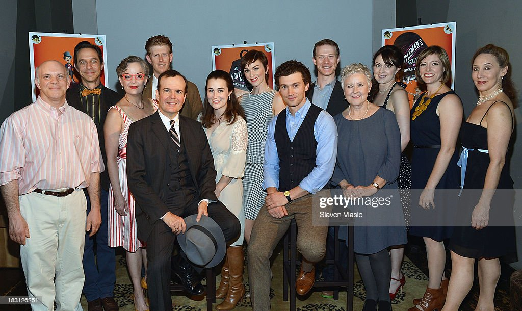 Cast members Eddie Korbich, Price Waldman, Jennifer Smith, Mark Ledbetter, <a gi-track='captionPersonalityLinkClicked' href=/galleries/search?phrase=Jefferson+Mays&family=editorial&specificpeople=211336 ng-click='$event.stopPropagation()'>Jefferson Mays</a>, Lauren Worsham, Lisa O'Hare, Bryce Pinkham, Jeff Kready, Jane Carr, Catherine Walker, Pamela Bob and Joanna Glushak attend 'A Gentleman's Guide To Love And Murder' Press Preview at Norwood Club on October 4, 2013 in New York City.