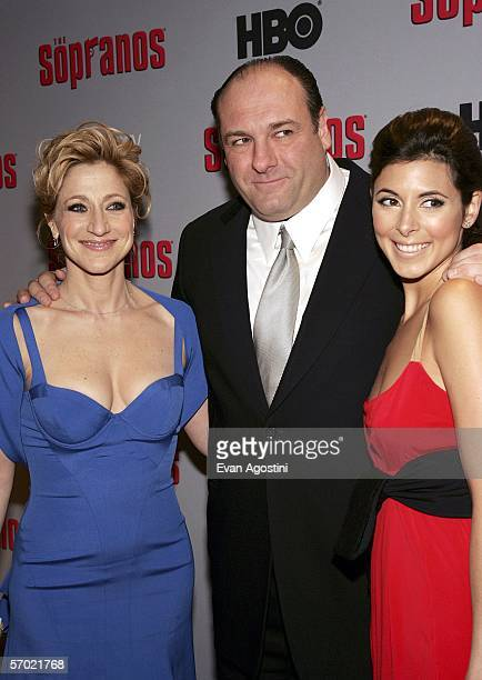 Cast members Edie Falco James Gandolfini and JamieLynn Sigler arrive at the HBO Season Premiere Of 'The Sopranos' at the Museum of Modern Art on...