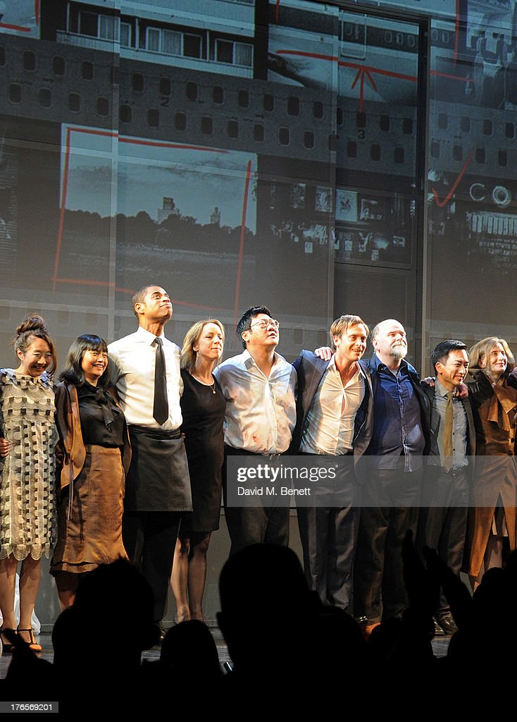 Cast members Elizabeth Chan, Sarah Lam, Karl Collins, Claudie Blakley, Benedict Wong, Stephen Campbell Moore, Trevor Cooper, David K.S. Tse and Nancy Crane bow at the curtain call during the press night performance of 'Chimerica' at the Harold Pinter Theatre on August 15, 2013 in London, England.