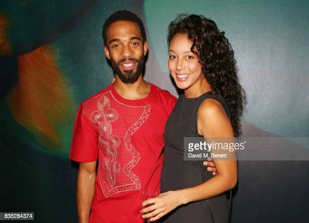 Cast members Elliot BarnesWorrell and Adelle Leonce attend the press night after party for 'Against' at The Almeida Theatre on August 18 2017 in...