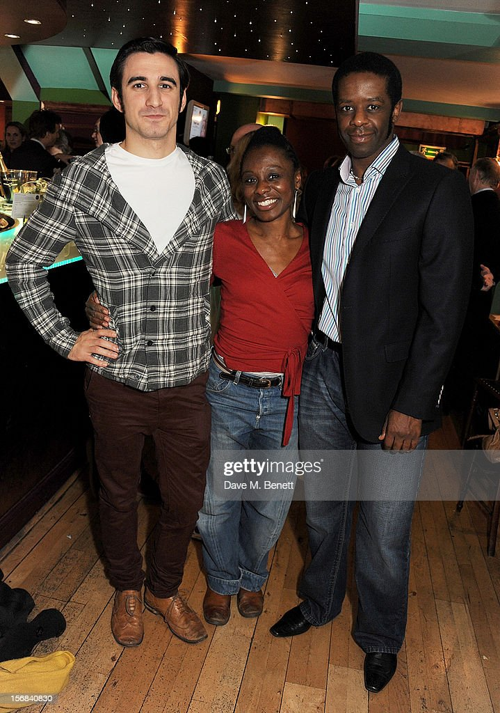 Cast members Ferdinand Kingsley, Natasha Gordon and <a gi-track='captionPersonalityLinkClicked' href=/galleries/search?phrase=Adrian+Lester&family=editorial&specificpeople=215408 ng-click='$event.stopPropagation()'>Adrian Lester</a> attend Tricycle Theatre's 'Red Velvet: The Director's Party' on November 22, 2012 in London, England.