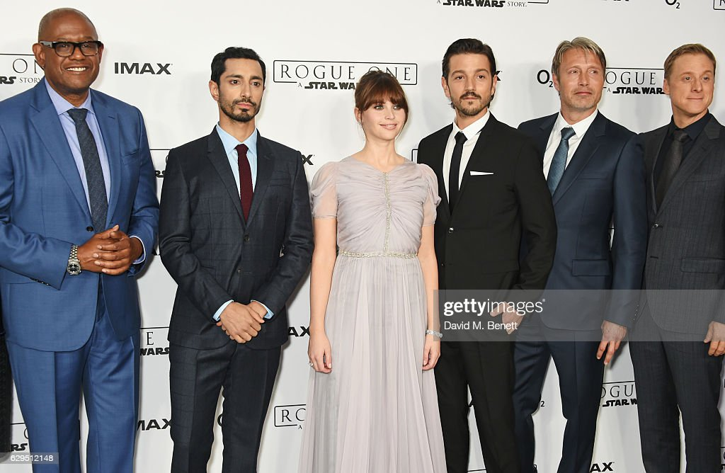 Cast members Forest Whitaker, Riz Ahmed, Felicity Jones, Diego Luna, Mads Mikkelsen and Alan Tudyk attend a fan screening of 'Rogue One: A Star Wars Story' at the BFI IMAX on December 13, 2016 in London, England.