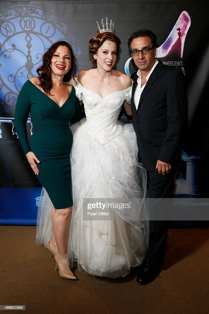Cast members Fran Drescher Paige Faure and actor Ray Abruzzo pose during a post show photo op for the opening night performance of 'Rodgers...
