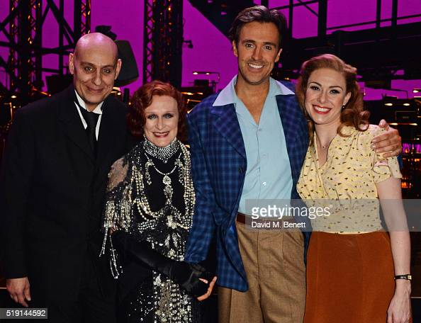 Cast members Fred Johanson Glenn Close Michael Xavier and Siobhan Dillon pose backstage at the press night performance of 'Sunset Boulevard' at The...