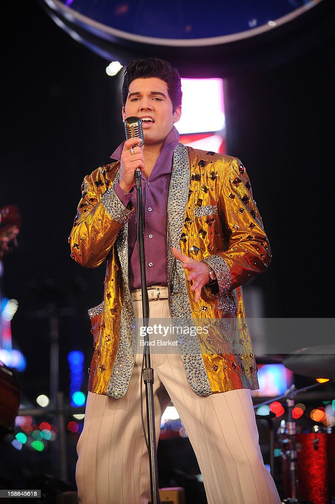 Cast members from 'Million Dollar Quartet' perform on the NIVEA Kiss Stage in Times Square on New Year's Eve 2013 on December 31, 2012 in New York City.