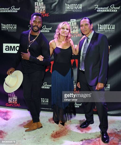 Cast members from the 'Fear the Walking Dead' television series Colman Domingo Kim Dickens and Michael Greyeyes attend the Fear the Walking Dead...