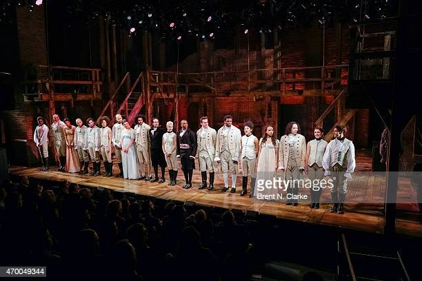 Cast members from the musical 'Hamilton' appear on stage during the 40th Anniversary of 'A Chorus Line' held at The Public Theater on April 16 2015...