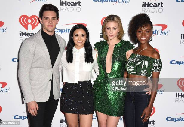 Cast members from the show 'Riverdale' Casey Cott Camila Mendes Lili Reinhart and Ashleigh Murray attend the 2017 iHeartRadio Music Festival at...