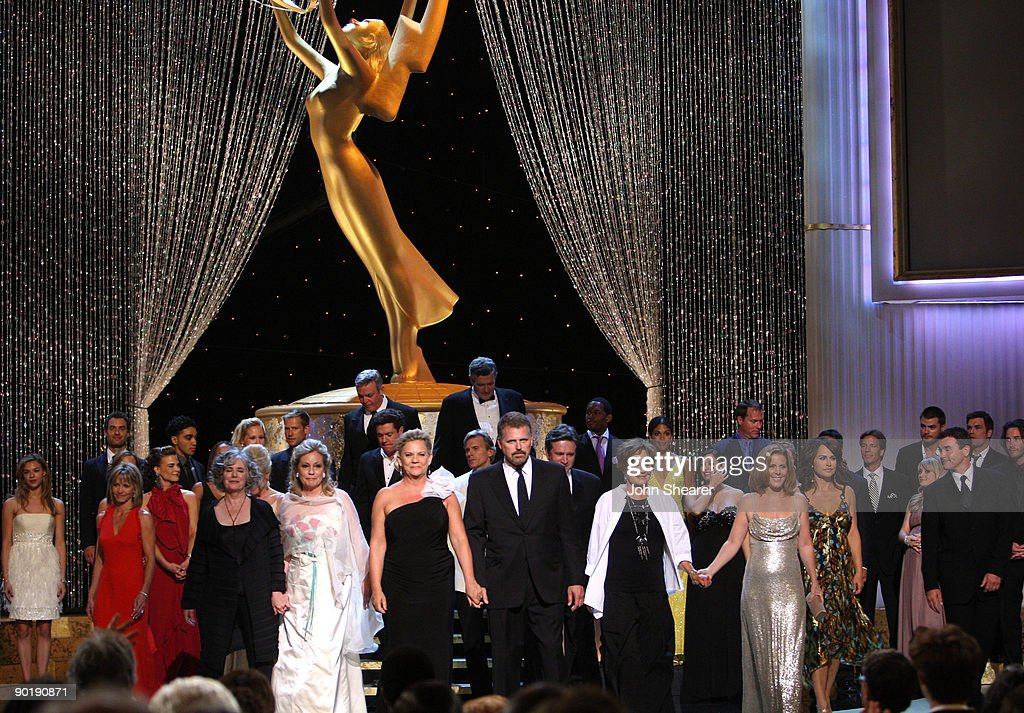 Cast members from the soap opera 'The Guiding Light' appear onstage for the Guiding Light Tribute during the 36th Annual Daytime Emmy Awards at The Orpheum Theatre on August 30, 2009 in Los Angeles, California.
