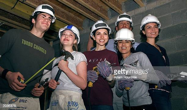 Cast members from the TV drama All My Children volunteer to build a Habitat for Humanity house May 28 2003 in Bronx neighborhood of New York City...