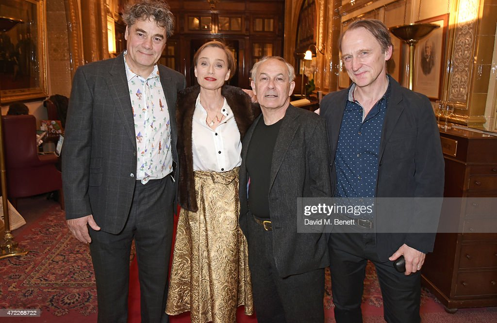 Cast members Gordon Kennedy, Dame Kristin Scott Thomas, Nicholas Woodeson and Michael Gould attend an after party following the press night performance of 'The Audience' at The Royal Horseguards Hotel on May 5, 2015 in London, England.