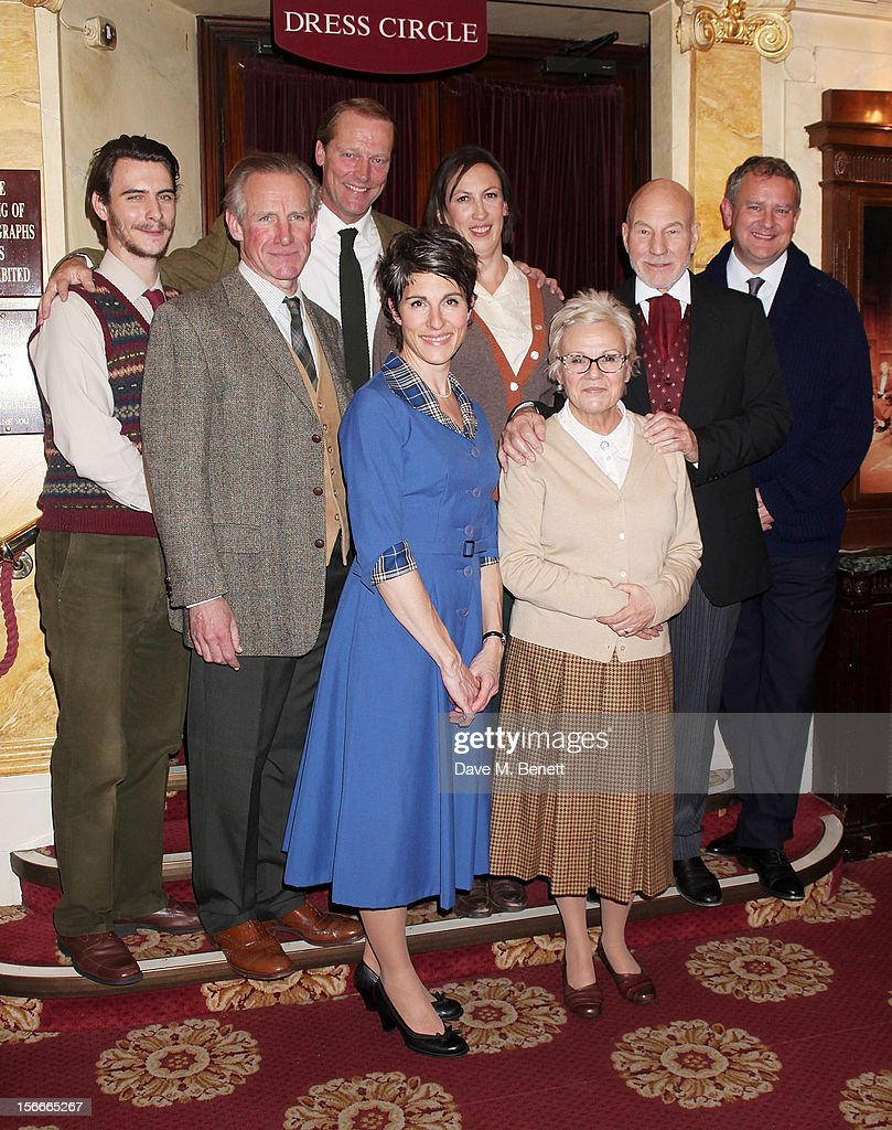 Cast members <a gi-track='captionPersonalityLinkClicked' href=/galleries/search?phrase=Harry+Lloyd&family=editorial&specificpeople=1062531 ng-click='$event.stopPropagation()'>Harry Lloyd</a>, Nicholas Farrell, <a gi-track='captionPersonalityLinkClicked' href=/galleries/search?phrase=Iain+Glen&family=editorial&specificpeople=579297 ng-click='$event.stopPropagation()'>Iain Glen</a>, <a gi-track='captionPersonalityLinkClicked' href=/galleries/search?phrase=Tamsin+Greig&family=editorial&specificpeople=814015 ng-click='$event.stopPropagation()'>Tamsin Greig</a>, <a gi-track='captionPersonalityLinkClicked' href=/galleries/search?phrase=Miranda+Hart&family=editorial&specificpeople=4204375 ng-click='$event.stopPropagation()'>Miranda Hart</a>, <a gi-track='captionPersonalityLinkClicked' href=/galleries/search?phrase=Julie+Walters&family=editorial&specificpeople=206570 ng-click='$event.stopPropagation()'>Julie Walters</a>, Sir <a gi-track='captionPersonalityLinkClicked' href=/galleries/search?phrase=Patrick+Stewart&family=editorial&specificpeople=203271 ng-click='$event.stopPropagation()'>Patrick Stewart</a> and <a gi-track='captionPersonalityLinkClicked' href=/galleries/search?phrase=Hugh+Bonneville&family=editorial&specificpeople=228840 ng-click='$event.stopPropagation()'>Hugh Bonneville</a> pose following the 60th Anniversary Gala performance of Agatha Christie's 'The Mousetrap' at the St. Martin's Theatre on November 18, 2012 in London, England.