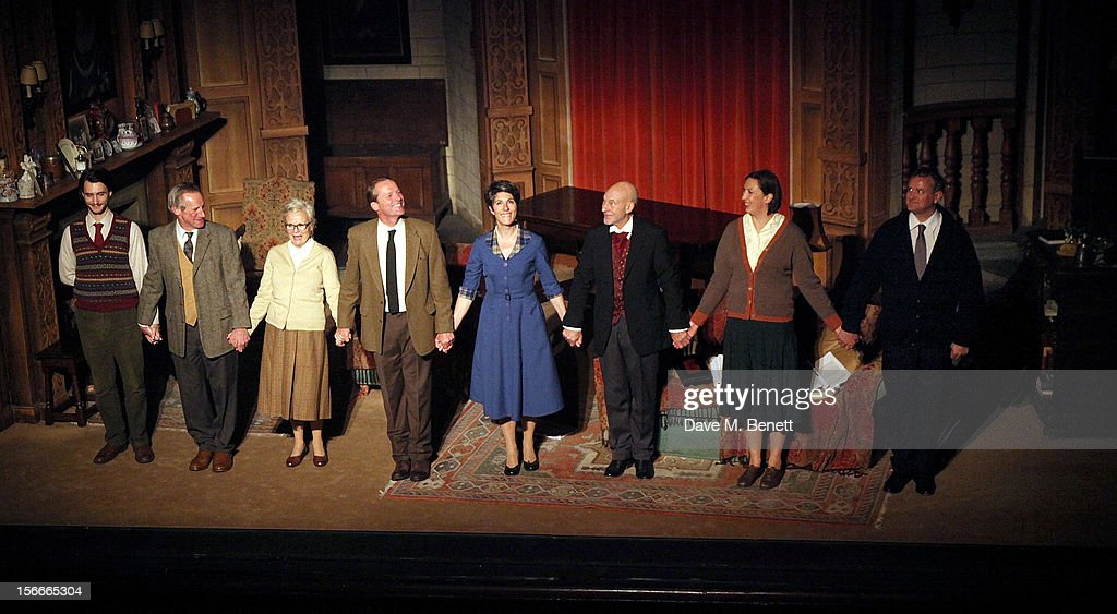 Cast members Harry Lloyd, Nicholas Farrell, Julie Walters, Iain Glen, Tamsin Greig, Sir Patrick Stewart, Miranda Hart and Hugh Bonneville bow at the curtain call during the 60th Anniversary Gala performance of Agatha Christie's 'The Mousetrap' at the St. Martin's Theatre on November 18, 2012 in London, England.