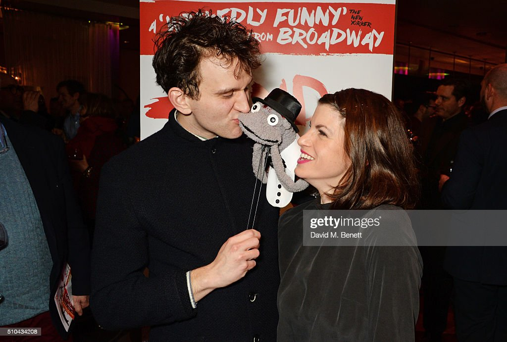 Cast members Harry Melling and Jemima Rooper attend the press night after party of 'Hand To God' at the Trafalgar Hotel on February 15 2016 in London...