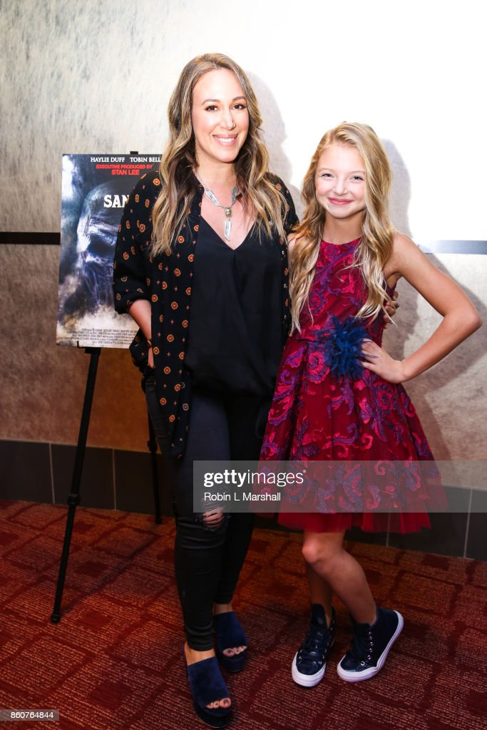Cast members Haylie Duff and Shae Smolik attend the premiere of SyFy's 'The Sandman' movie screening at ArcLight Sherman Oaks on October 12, 2017 in Sherman Oaks, California.