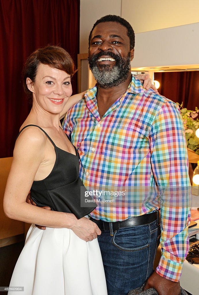Cast members <a gi-track='captionPersonalityLinkClicked' href=/galleries/search?phrase=Helen+McCrory&family=editorial&specificpeople=214616 ng-click='$event.stopPropagation()'>Helen McCrory</a> (L) and <a gi-track='captionPersonalityLinkClicked' href=/galleries/search?phrase=Danny+Sapani&family=editorial&specificpeople=2343946 ng-click='$event.stopPropagation()'>Danny Sapani</a> pose backstage following the press night performance of 'Medea' at The National Theatre on July 21, 2014 in London, England.