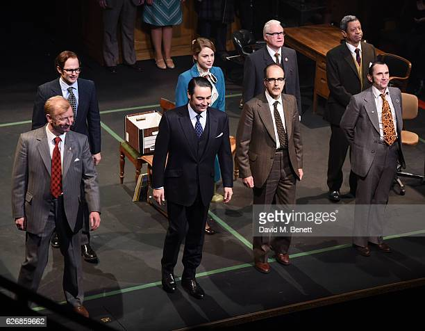 Cast members including on front row Steffan Rhodri Nathaniel Parker and Phil Daniels bow at the curtain call during the press night performance of...