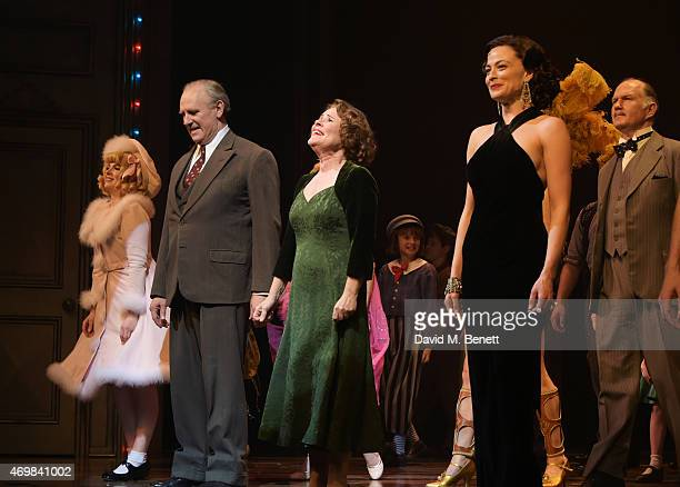 Cast members including Peter Davison Imelda Staunton and Lara Pulver bow at the curtain call during the press night performance of 'Gypsy' at The...