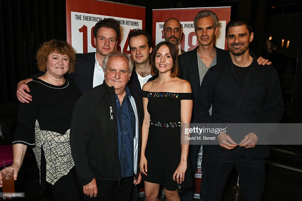 Cast members including Rosie Ede, Andrew Gower, Anthony O'Donnell, Joshua Higgott, Catrin Stewart, Richard Katz, Angus Wright and Daniel Rabin attend the press night after party for '1984' at The Mint Leaf on June 28, 2016 in London, England.